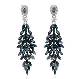 Blue Diamond (Bgt), White Diamond Earrings (with Push Back) in Platinum Overlay Sterling Silver 1.000 Ct.