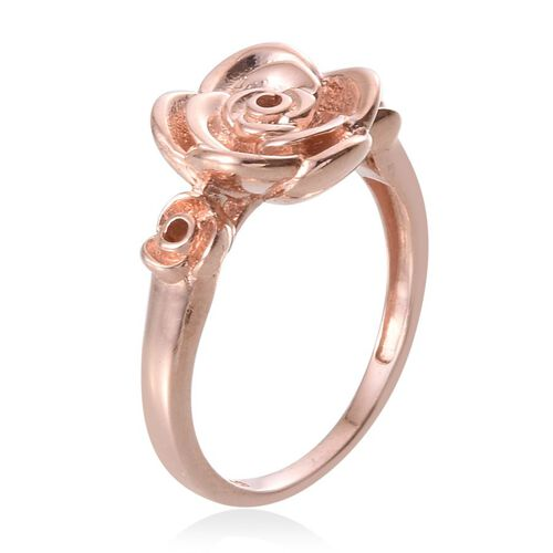 Rose Gold Overlay Sterling Silver Floral Ring, Silver wt 5.39 Gms.