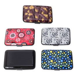 Set of 5 - Black and Multi Colour Pattern RFID Blocking Water Resistant Card Holders (Size 11x7x2 Cm)