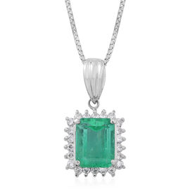 Signature Collection - 900 Platinum AAAA Boyaca Colombian Emerald (Oct 2.66 Ct), Diamond (SI and G-H) Pendant with Chain 3.010 Ct.