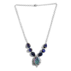 Jewels of India Drusy Agate Necklace (Size 18) in Sterling Silver 49.390 Ct.