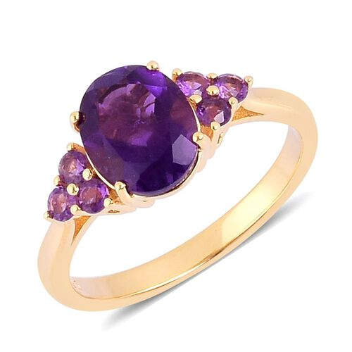 AA Lusaka Amethyst (Ovl 2.25 Ct) Ring in Yellow Gold Overlay Sterling Silver 2.750 Ct.