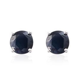 9K White Gold 1 Carat AA Kanchanaburi Blue Sapphire (Rnd) Stud Earrings (with Push Back)