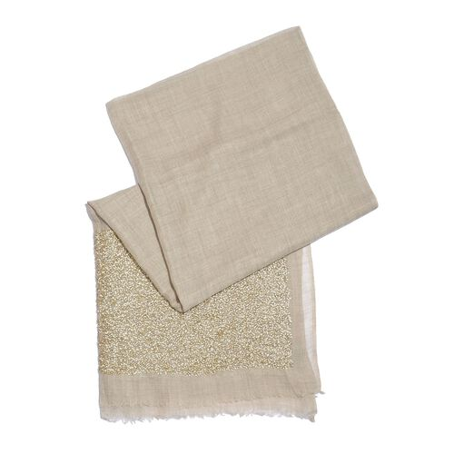 Close Out Deal Designer Inspired - Merino Wool and Mulberry Silk Shawl With Hand Done Sequin embellishment and Fringes - Beige (Size 200X70 Cm)