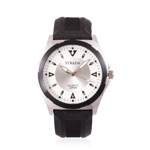STRADA Japanese Movement Sunshine Pattern White Dial Water Resistant Watch in Silver Tone with Stainless Steel Back and Black Colour Silicone Strap