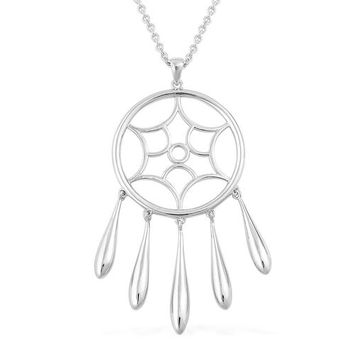 LucyQ Dream Catcher Pendant with Necklace (Size 16 with 4 inch Extender) in Rhodium Plated Sterling Silver 15.72 Gms.