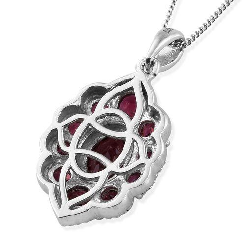 Rhodolite Garnet (Ovl) Pendant With Chain in Platinum Overlay Sterling Silver 2.750 Ct.