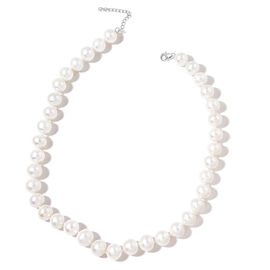 9K W Gold Top Lustre Premium AAA Fresh Water White Pearl (Very Rare Size 11-12 mm) Necklace (Size 18 with 2 inch Extender)