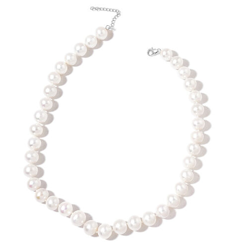 9K White Gold Top Lustre Premium AAA Fresh Water White Pearl (Very Rare Size 11-12 mm) Necklace (Size 18 with 2 inch Extender)