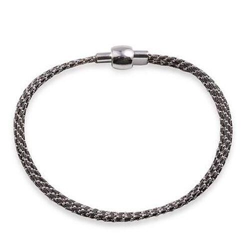 Close Out Deal Black and White Gold Overlay Sterling Silver Bracelet (Size 7.5), Silver wt 11.89 Gms.
