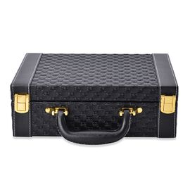 Black Colour Woven Pattern Breifcase Design Double Layer Jewellery Box with Mirror Inside (Size 27.5X18.5X9 Cm)