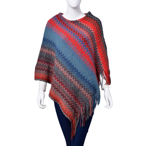 Designer Inspired Red, Blue and Multi Colour Zig Zag Pattern Poncho with Tassels (Free Size)