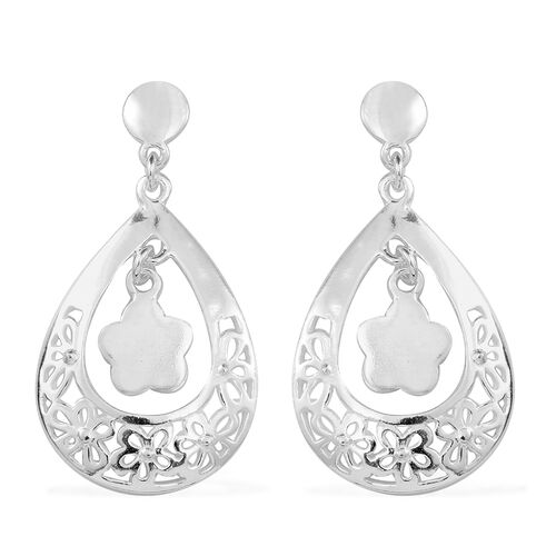 Thai Sterling Silver Floral Earrings (with Push Back), Silver wt 6.64 Gms.