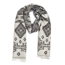 Desinger Inspired - White, Grey and Black Colour Zigzag Pattern Scarf with Fringes (Size 190X70 Cm)