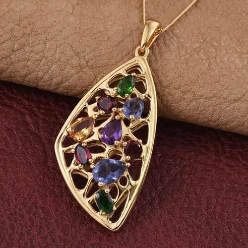 Stefy Iolite (Pear 0.50 Ct), Amethyst, Citrine, Mozambique Garnet, Russian Diopside, Rhodolite Garnet and Pink Sapphire Pendant With Chain in 14K Gold Overlay Sterling Silver 2.750 Ct.
