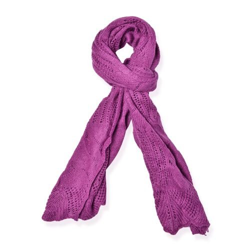 Lace Design Purple Colour Knitted Scarf (Size 180x60 Cm)