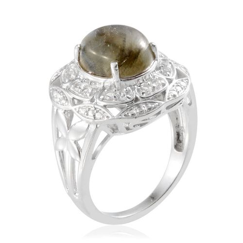 Labradorite (Ovl 4.00 Ct), White Topaz Ring in Platinum Overlay Sterling Silver 4.250 Ct.