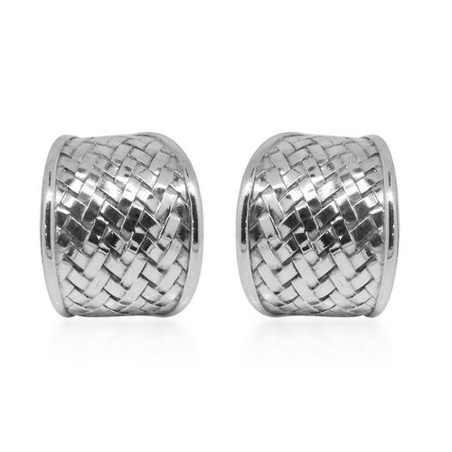 Royal Bali Collection Sterling Silver Weave Net Earrings (with Push Back), Silver wt 7.78 Gms.