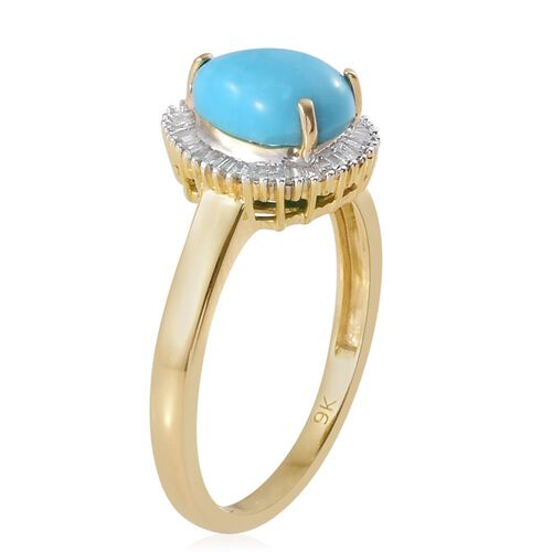 9K Y Gold AA Arizona Sleeping Beauty Turquoise (Pear 1.35 Ct), Diamond Ring 1.500 Ct.