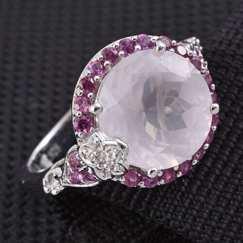 GP Rose Quartz (Rnd 6.25 Ct), Kanchanaburi Blue Sapphire, Rhodolite Garnet and White Topaz Ring in Platinum Overlay Sterling Silver 7.000 Ct.