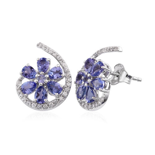 Tanzanite and Natural Cambodian Zircon Floral Stud Earrings (with Push Back) in Rhodium Plated Sterling Silver 2.086 Ct.
