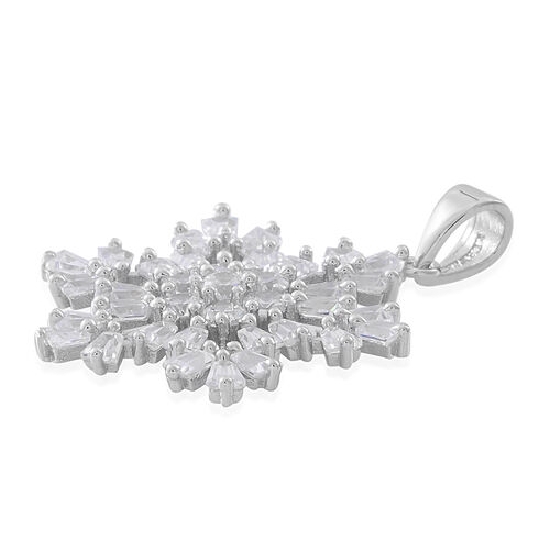 ELANZA AAA Simulated White Diamond (Rnd) Starburst Pendant in Rhodium Plated Sterling Silver, Silver wt 3.00 Gms.