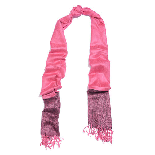 Plum and Black Colour Paisley Pattern Reversible Scarf with Tassels (Size 200X70 Cm)