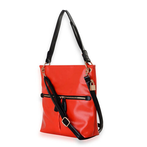 Red Crossbody Bag with Back and Front Pocket (Size 28x8x29.5 Cm)