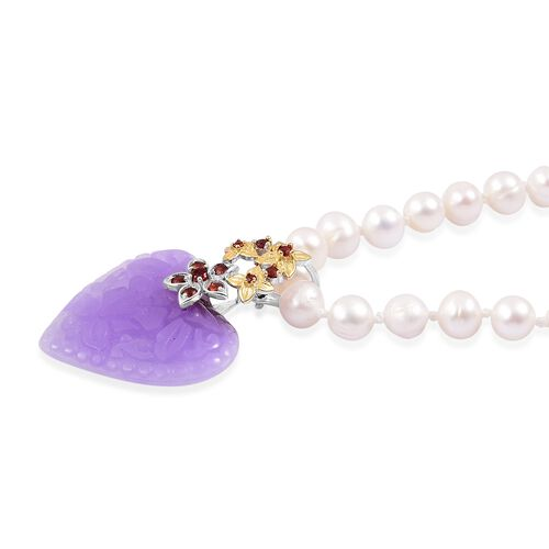 Colour Of Year-Fresh Water Pearl (Rnd 6-7mm), Purple Jade and Mozambique Garnet Heart Necklace (Size 18) in Rhodium and Yellow Gold Overlay Sterling Silver