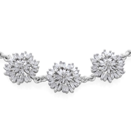 Diamond (Rnd) Adjustable Bracelet (Size 9) in Platinum Overlay Sterling Silver 1.005 Ct. Number of Diamond 185