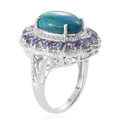 Natural Rare Opalina (Ovl), Iolite Ring in Platinum Overlay Sterling Silver 6.500 Ct.
