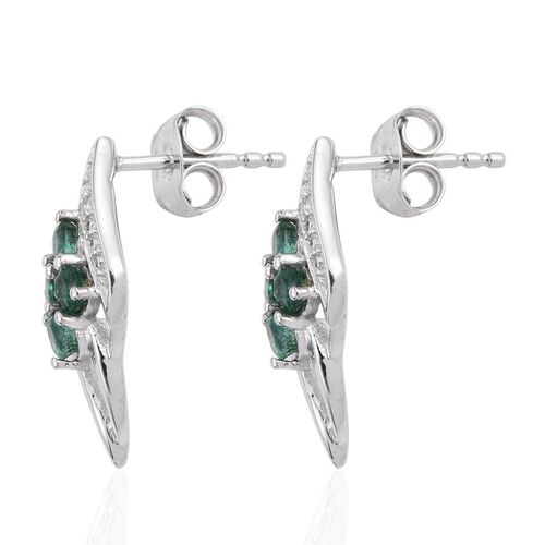 Brazilian Emerald (Rnd) Stud Earrings (with Push Back) in Platinum Overlay Sterling Silver 0.530 Ct.