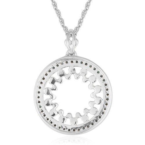 JCK Vegas Collection Blue Diamond (Rnd) Circle Pendant With Chain in Platinum Overlay Sterling Silver