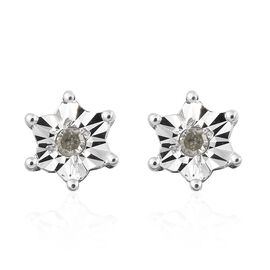 Diamond (Rnd) Flower Stud Earrings (with Push Back) in Platinum Overlay Sterling Silver