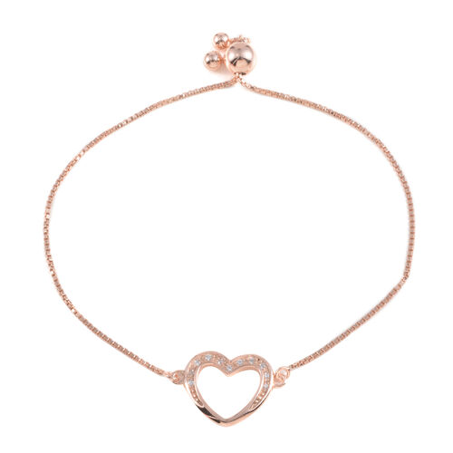 JCK Vegas Collection AAA Simulated Diamond (Rnd) Heart Bracelet (Size 9) in Rose Gold Overlay Sterling Silver