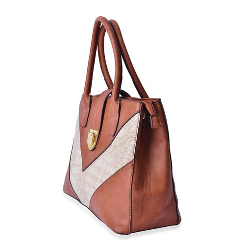 Karlie Italian Tan V - Pattern Tote Bag with External Zipper Pocket (Size 35x25.5x15 Cm)