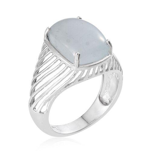 Espirito Santo Aquamarine (Cush) Ring in Platinum Overlay Sterling Silver 7.000 Ct.