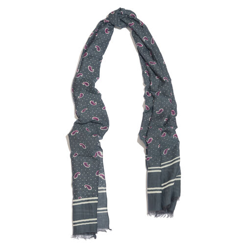 Set of 2 - Grey, Purple and Multi Colour Paisley and Dots Scarf with Fringes (Size 180X55 Cm), Grey Colour Scarf with Fringes (Size 180X50 Cm)