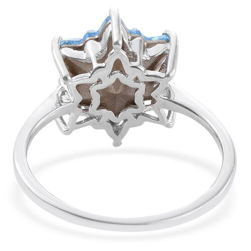 LIMITED EDITION STELLARIS CUT J Francis Crystal from Swarovski - Aquamarine Colour Crystal Solitaire Ring in Platinum Overlay Sterling Silver