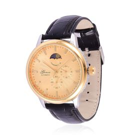 GENOA Chronograph Look Golden Dial Water Resistant Watch in Gold Tone with Stainless Steel Back and Black Strap