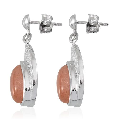 Morogoro Peach Sunstone (Pear) Earrings (with Push Back) in Platinum Overlay Sterling Silver 6.000 Ct.