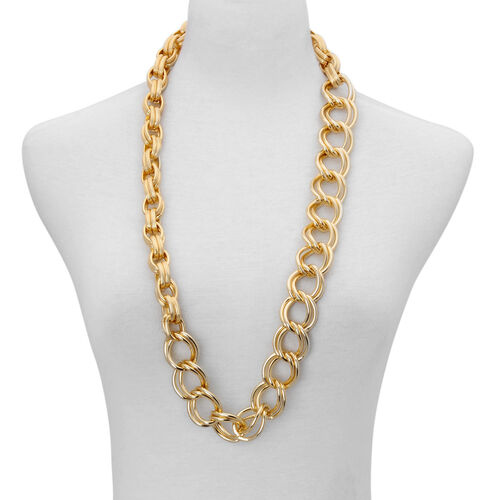 Designer Inspired  Necklace (Size 34) in Gold Tone