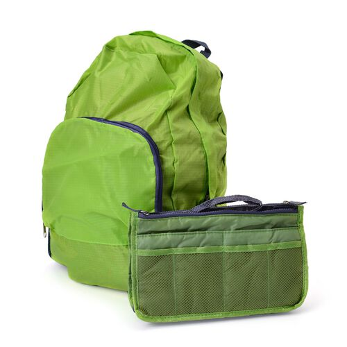 Set of 2 - Green Colour Foldable Backpack and Storage Bag (Size 44x30x13 Cm, 26.5x16x9.5 Cm)