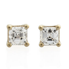 ILIANA 18K Yellow Gold IGI Certified Diamond (Asscher Cut) (VS/G-H) Stud Earrings (with Screw Back) 0.500 Ct.
