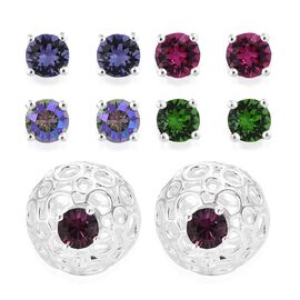 Set of 5 - J Francis Crystal from SWAROVSKI - Fuchsia, Fern Green, Tanzanite and Multi Colour Crystal Earrings (with Push Back) in Sterling Silver, Silver wt 11.73 Gms.