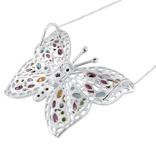 GP Rhodolite Garnet (Ovl), Electric Swiss Blue Topaz, Kanchanaburi Blue Sapphire, African Ruby and Multi Gem Stone Butterfly Pendant With Chain (Size 16) in Platinum Overlay Sterling Silver 6.500 Ct.