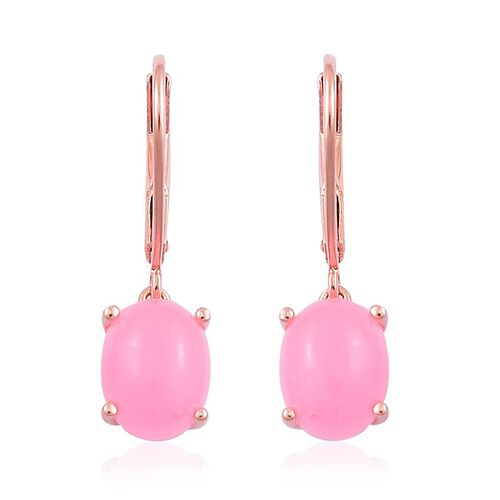 Pink Jade (Ovl) Lever Back Earrings in Rose Gold Overlay Sterling Silver 4.750 Ct.