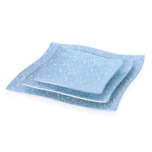 Set of 3 - Light Blue Colour Square Shape Glass Snack Plates (Size 25X25, 20X20 and 15X15 Cm)