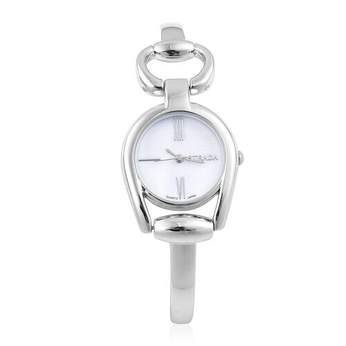 Designer Inspired - STRADA Japanese Movement Snaffle Silver Tone Watch