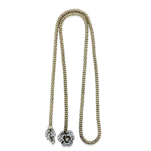 White Austrian Crystal Y Necklace (Size 36) in Gold Tone